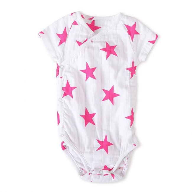 Aden + Anais - Long Sleeved Body Suit Medium Pink Star 9 12 M