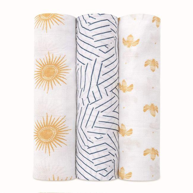 Aden + Anais - Silky Soft 3 Pack Swaddles Golden Sun
