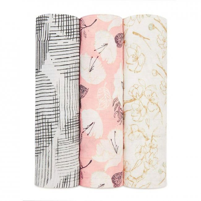 Aden + Anais - Silky Soft 3 Pack Swaddles Pretty Petals