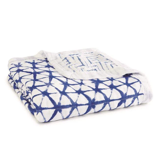 Aden + Anais - Silky Soft Stroller Blanket Indigo Shibori