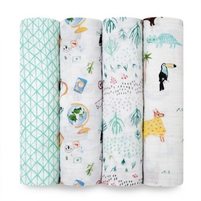 Aden + Anais - Classic 4 Pack Swaddles Around The World
