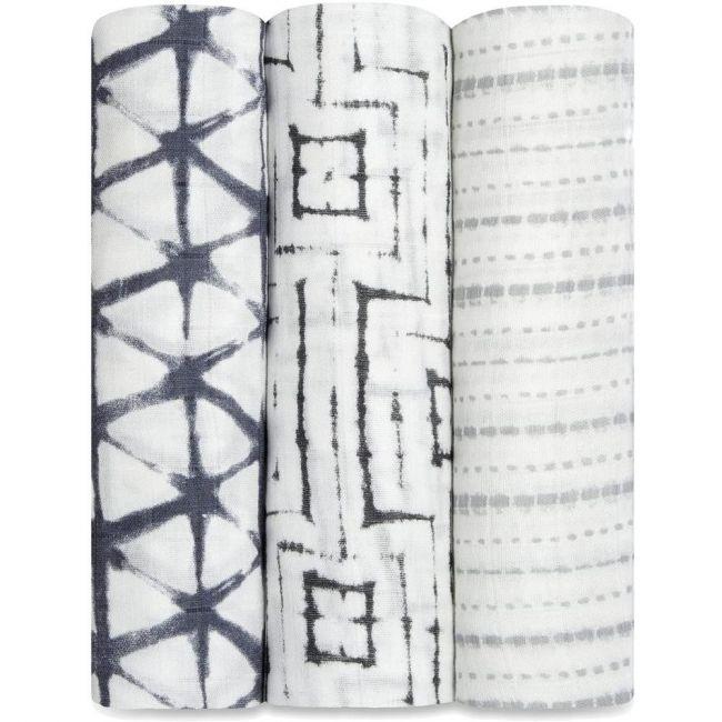 Aden + Anais - Silky Soft 3 Pack Swaddles Pebble Shibori