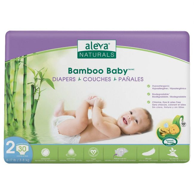 Aleva Naturals - Bamboo Baby Diapers, Size 2, 3-8 Kg - 30 Pcs