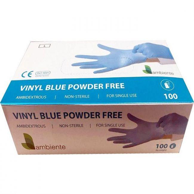 Ambiente Vinyl Blue Powder Free Hand Gloves - Medium