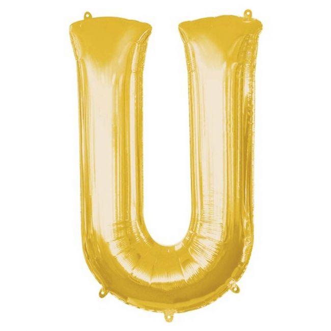 "Amscan - 16"" Gold Foil Letter U Balloon"