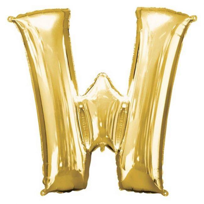 "Amscan - 16"" Gold Foil Letter W Balloon"