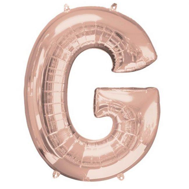 """Amscan - 16"""" Rose Gold Letter G Balloon"""