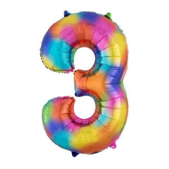 "Amscan - Number 3 Balloon - 34"" Rainbow"