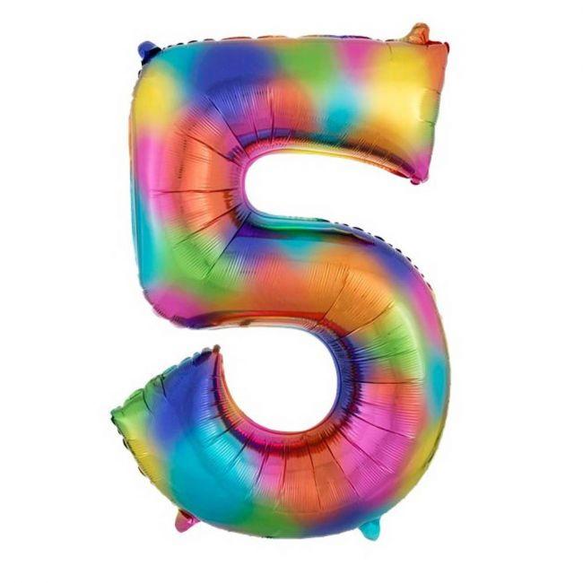 "Amscan - Number 5 Balloon - 34"" Rainbow"
