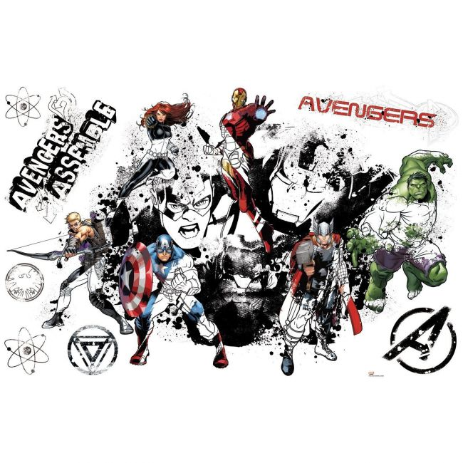 Room mates Avengers Assemble Black & White Giant Wall Decal