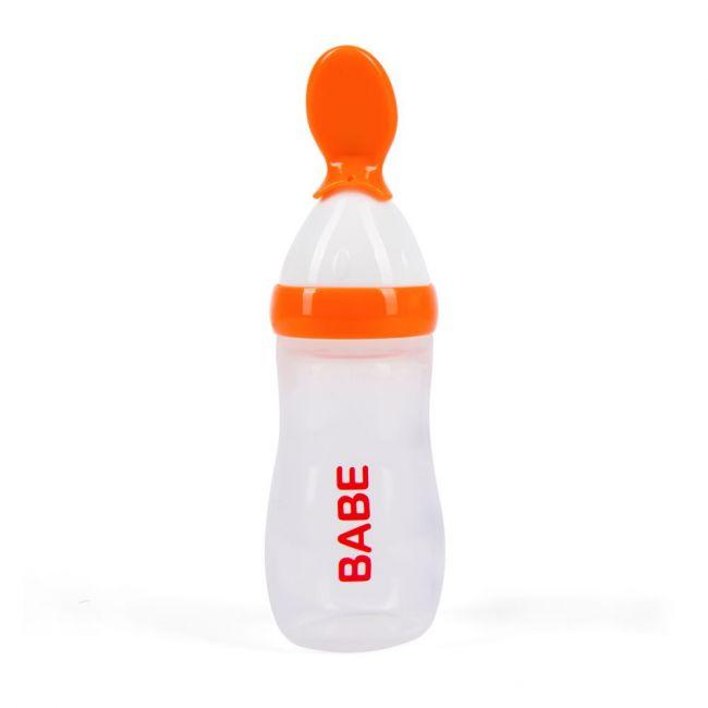 Babe - Baby Cereal Feeding Bottle 125ml - Orange