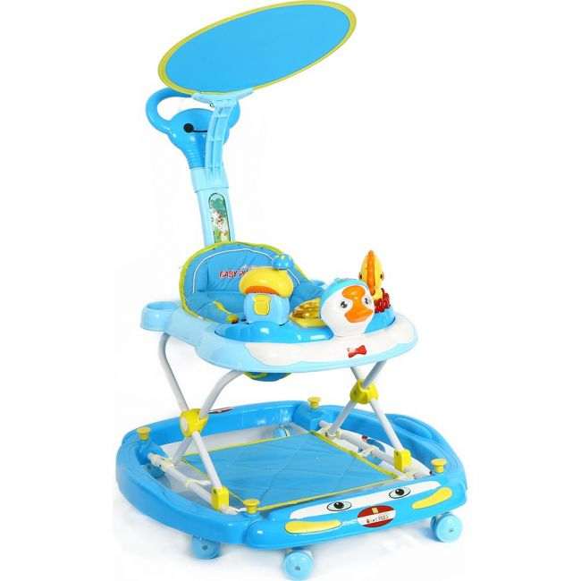 Baby Plus Light Blue Baby Walker with Reversibile Canopy