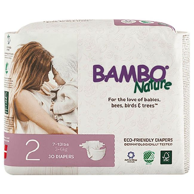 Bambo Nature - Eco Friendly Diapers, Dream Size 2, 3-6 Kg - 30 Pcs