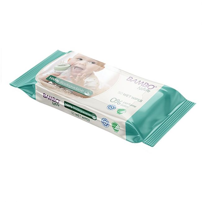 Bambo Nature Eco - 100% Biodegradable Wet Wipes With 0% Perfume Colour 50S
