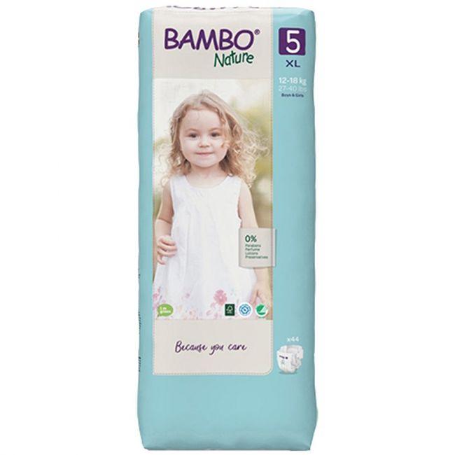 Bambo Nature - Eco-Friendly Diaper, Size 5, Tall 12-18 Kg - 44 Pcs