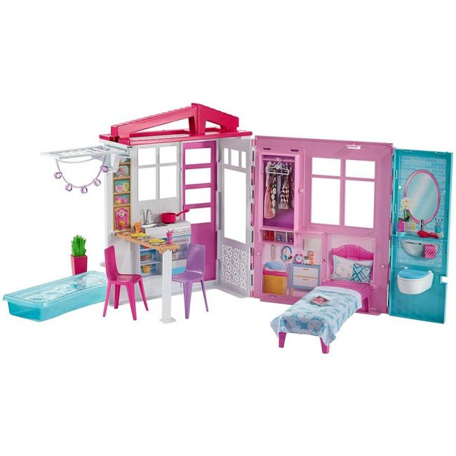 Barbie - Portable 1-Story Playset with Pool and Accessories