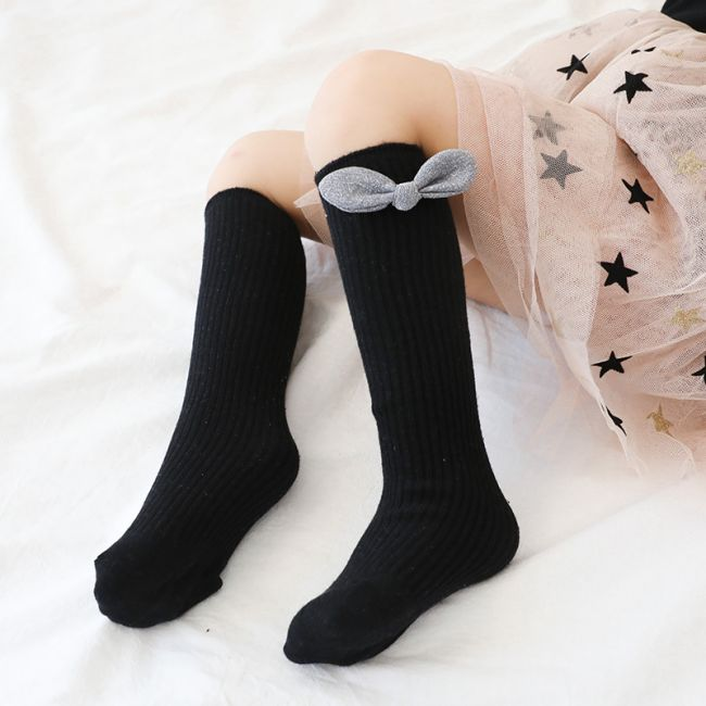Beaux Bambino - Mid Cotton Socks with Bow Accessory Black