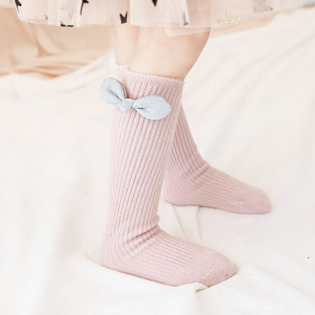 Beaux Bambino - Mid Cotton Socks with Bow Accessory Pink