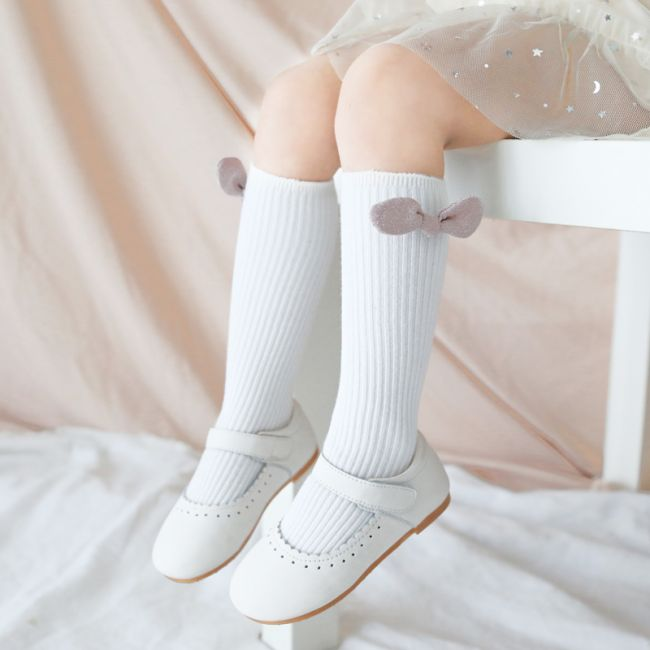 Beaux Bambino - Mid Cotton Socks with Bow Accessory White