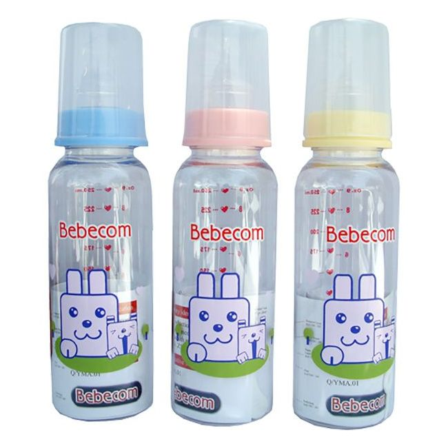 Bebecom - Glass 250ml Baby Bottle - Assorted Colours