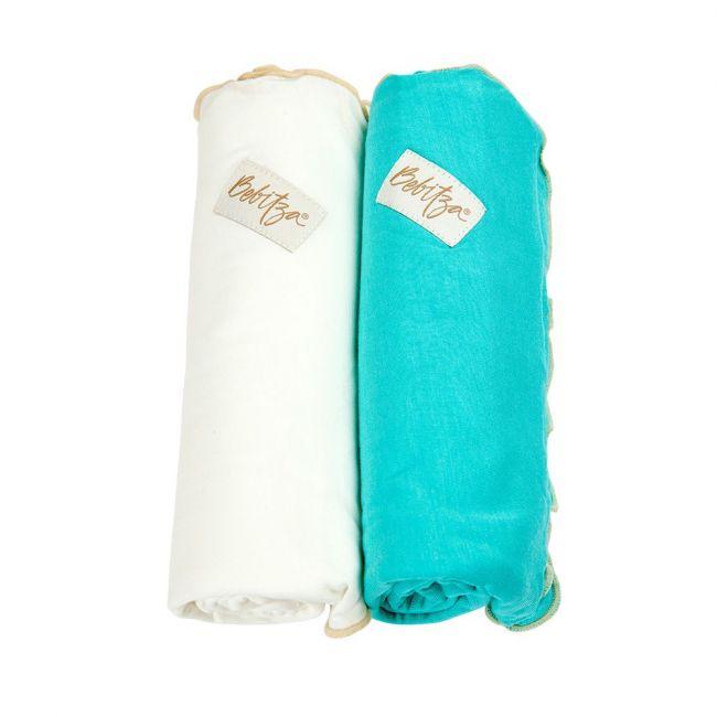 Bebitza Antibacterial Baby Wraps - Darkgreen/Cream 2pcs