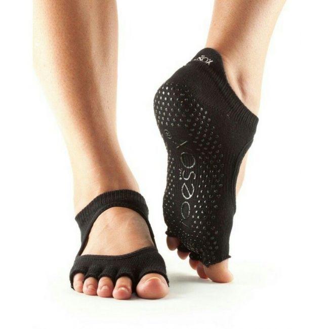 Toesox Bellarina Half Toe Sport Socks Black - Large