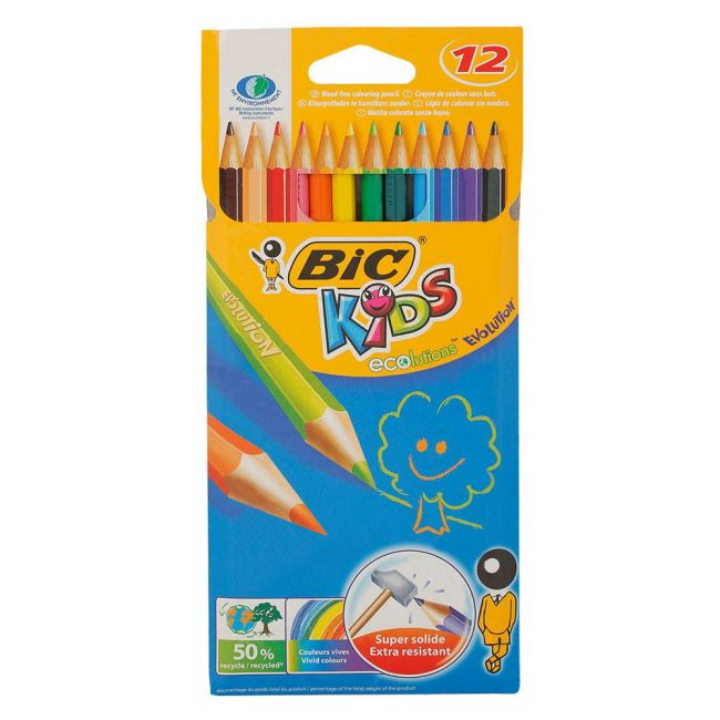 Bic - Kids Evolution Colouring Pencils Assorted Colours Pack of 12