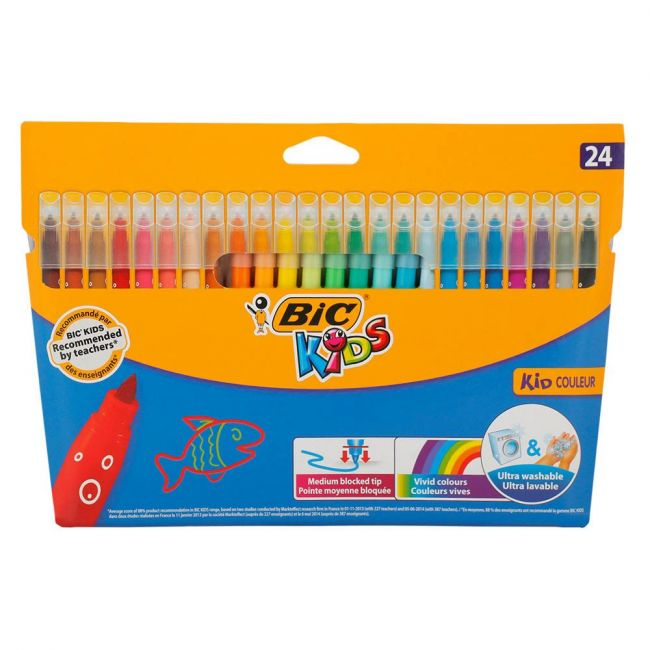 Bic - Kids Kid Couleur Felt Tip Colouring Pens Medium Point Assorted Colours Pack of 24