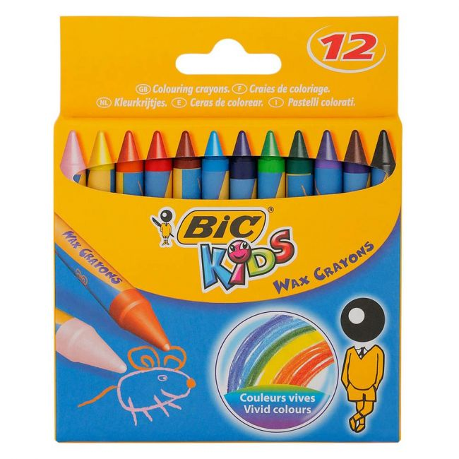 Bic - Kids Wax Colouring Crayons 12 Pack