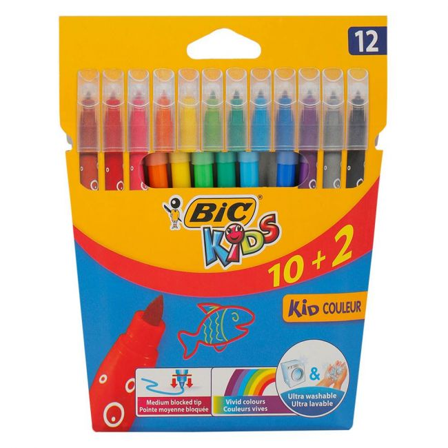 Bic - Visa Felt Pens Assorted Colors 10 And 2 Pcs