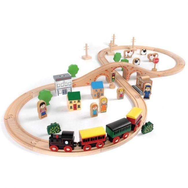 Bigjigs 50 Piece Train Set - Pretend Play