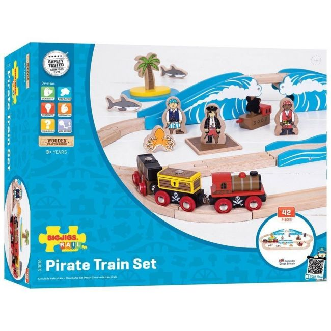 Bigjigs Pirate Train Set - Pretend Play