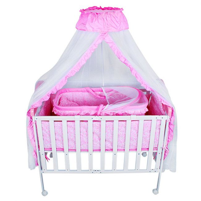 Baby Plus - Foldable Crib With Mosquito Net - Pink