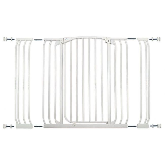 Dreambaby White Chelsea Xtra Wide Hallway Security Gate & Extension Set 1 Gate 2 Extensions