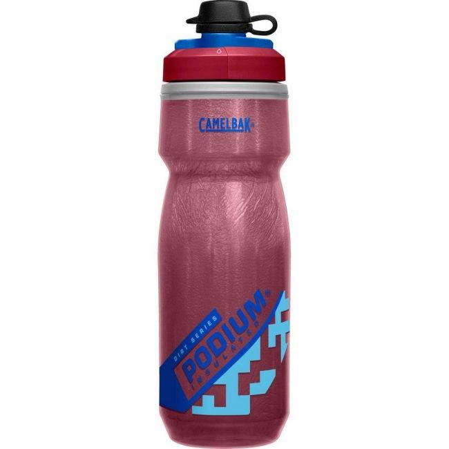 Camelbak Podium Dirt Series Chill 21 oz Bike Water Bottle - Burgundy-Blue