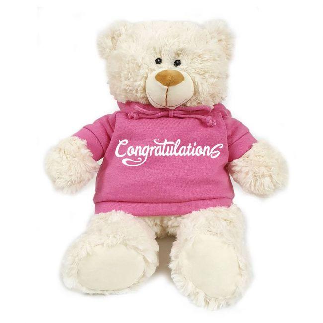 Caravaan - Cream Bear W Congratulations Print On Pink Hoodie 38 Cm