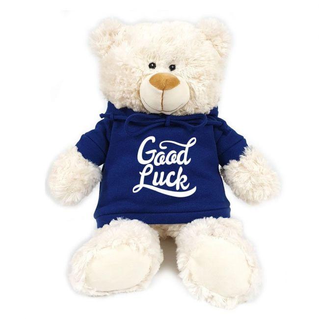 Caravaan - Cream Bear W Good Luck Print On Blue Hoodie 38 Cm