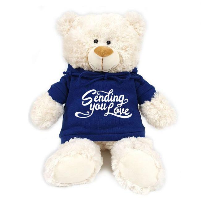 Caravaan - Cream Bear W Sending You Love Print On Blue Hoodie 38 Cm