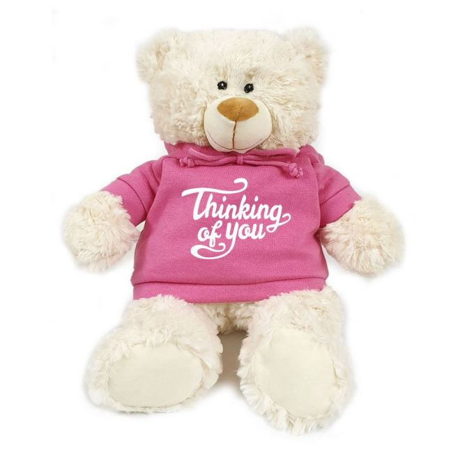 Caravaan - Cream Bear W Thinking Of You Print On Pink Hoodie 38 Cm