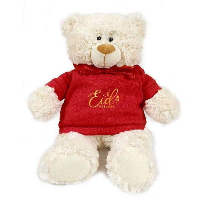 Caravaan - Cream Teddy With Eid Mubarak Red Hoodie 38Cm
