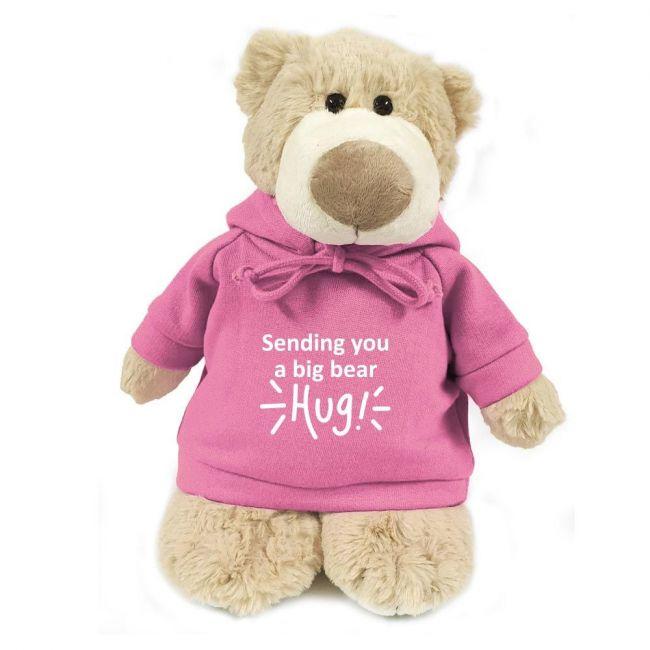 Caravaan - Mascot Bear W Sending You A Big Bear Hug Print On Pink Hoodie 28 Cm