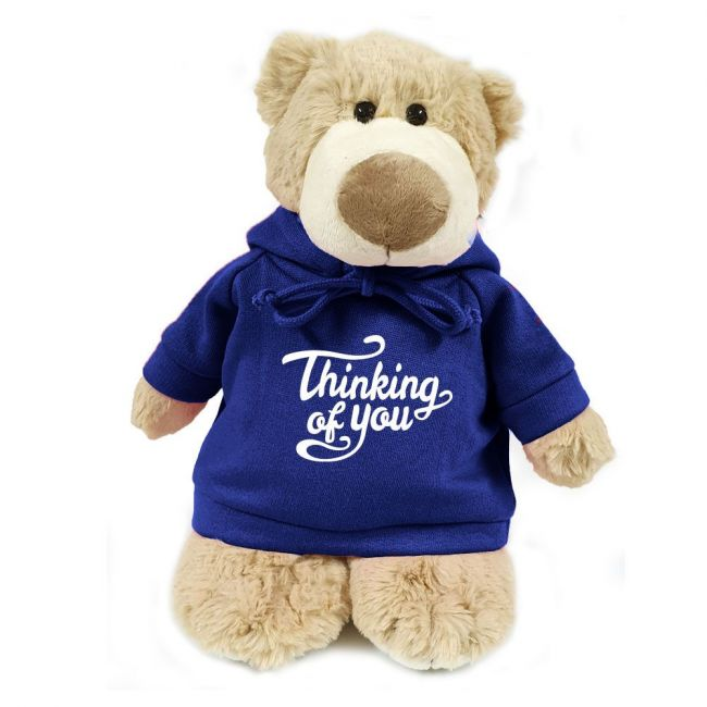 Caravaan - Mascot Bear W Thinking Of You Print On Blue Hoodie 28 Cm