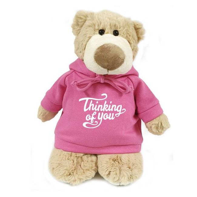 Caravaan - Mascot Bear W Thinking Of You Print On Pink Hoodie 28 Cm