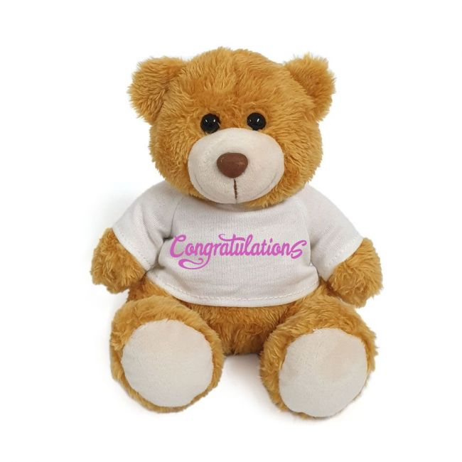 Caravaan - Plush Teddy Golden Brown With Congratulations On White T Shirt 15 Cm