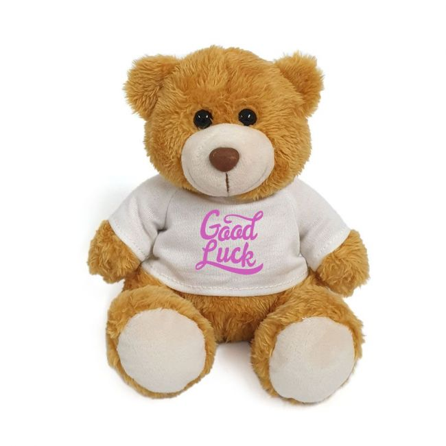 Caravaan - Plush Teddy Golden Brown With Good Luck On White T Shirt 15 Cm