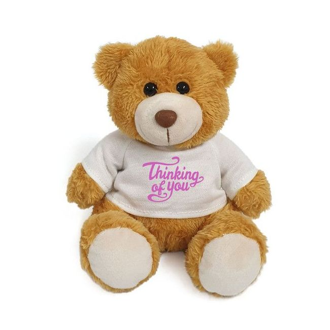Caravaan - Plush Teddy Golden Brown With Thinking Of You On White T Shirt 15 Cm