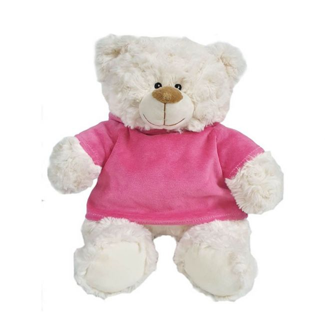 Caravaan - Super Soft Fluffy Bear With Trendy Pink Velour Hoodie