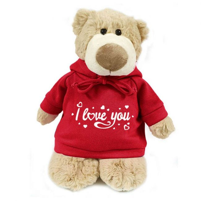 Caravaan - Supersoft, Cuddly Mascot Bear With Trendy Red Hoodie - I Love You