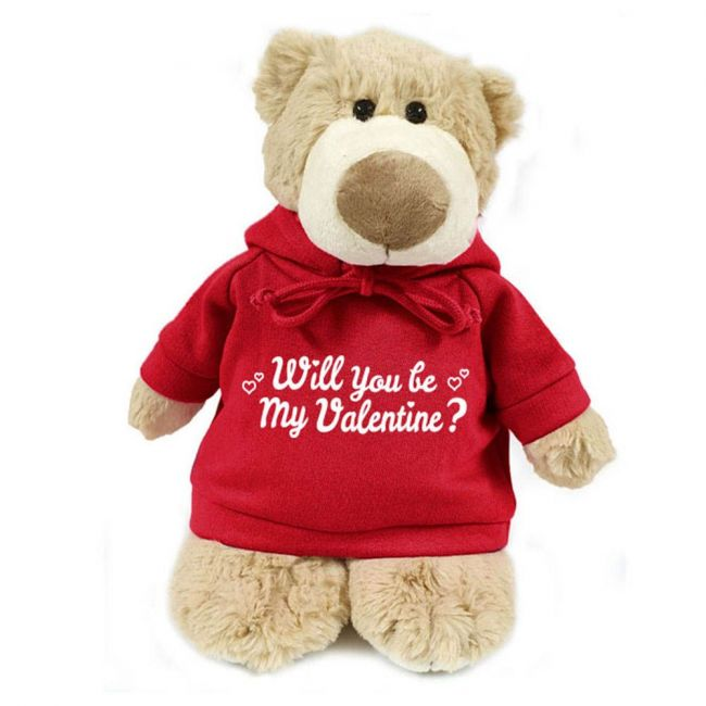 Caravaan - Supersoft Cuddly Mascot Bear With Trendy Red Hoodie - Will You Be My Valentine?