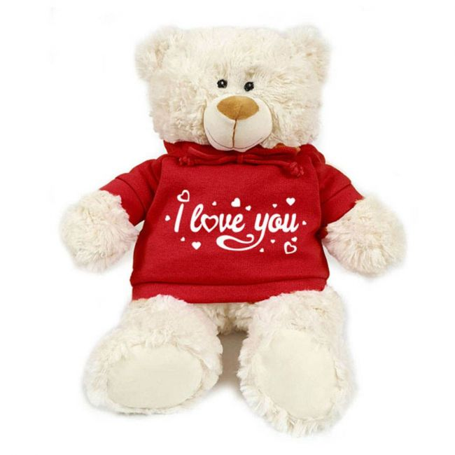 Caravaan - Supersoft Cuddly Teddy Bear With Trendy Red Hoodie - I Love You